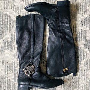 Tory Burch Boots Black Leather Gold Amanda Size 7